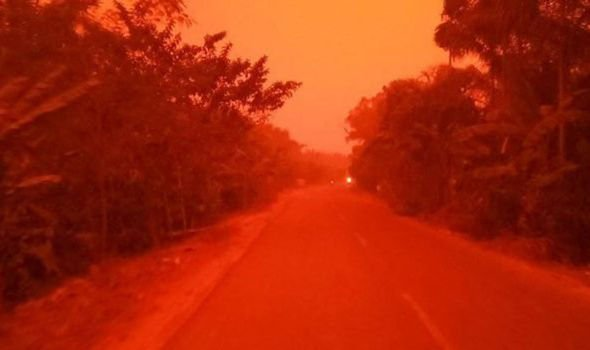 Haze turned the Indonesian sky red